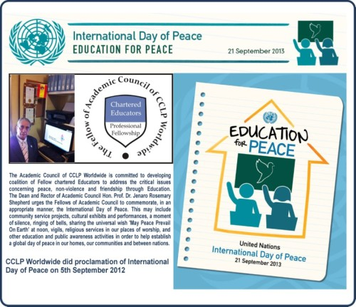 The Official Message of Dean and Rector of Academic Council for International Day of Peace