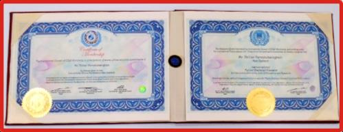 Certificate inside protective leatherette folder