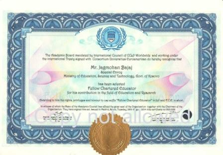 The Front design of fellow Certificate duly sealed and protected with unique CCLP Worldwide hologram sticker