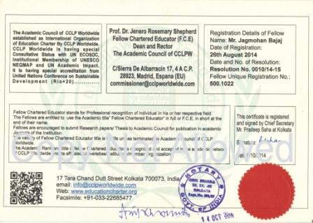 The back side of the Fellow Certificate duly signed and sealed by Notary Public (Govt. Of India).